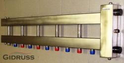 Коллектор отопления с гидрострелкой Gidruss BMSS-250-6D из нержавеющей стали (250 кВт, 6 контуров, вход G 2'' НР, выход 1'' HP Межосевое расстояние 125 мм)