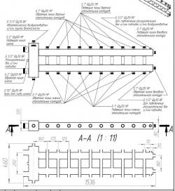 """Коллектор отопления с гидрострелкой Gidruss BM-250-11DU (250 кВт, 11 контуров G 1"""", вход G 2"""", Межосевое расстояние 125 мм)"""