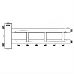 """Коллектор отопления с гидрострелкой Gidruss BM-250-4D (150 кВт, 4 контура, вход G 2"""" НР, выход 1"""" НР Межосевое расстояние 125 мм)"""