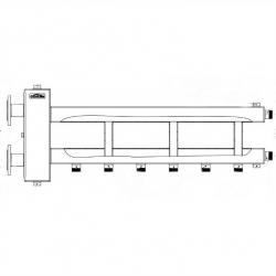"""Коллектор отопления с гидрострелкой Gidruss BMFSS-300-4D из нержавеющей стали (300 кВт, 4 контура, вход Ду65фланец, выход 1"""" Межосевое расстояние 125 мм)"""
