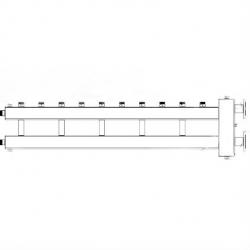"""Коллектор отопления с гидрострелкой Gidruss BMFSS-300-6U из нержавеющей стали (300 кВт, 6 контуров, вход Ду65фланец, выход 1"""" Межосевое расстояние 125 мм)"""