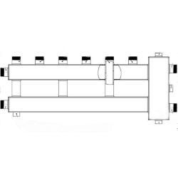 """Коллектор с гидрострелкой Gidruss """"компакт"""" BMK-60-4U (до 60 кВт, 4 контура 3/4'' НР, G1'' Межосевое расстояние 90 мм)"""