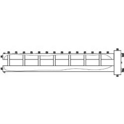 """Коллектор отопления с гидрострелкой Gidruss BMSS-250-8U из нержавеющей стали (250 кВт, 8 контуров, вход G 2"""" НР, выход 1'' НР Межосевое расстояние 125 мм)"""