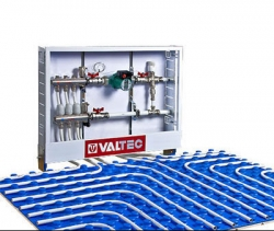 """Коллектор теплого пола Valtec из нержавеющей стали в сборе со встроенными расходомерами, 1""""х 3 вых. (3/4"""")"""