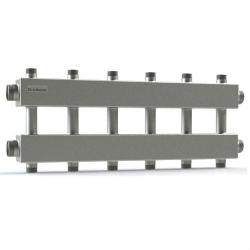 """Модульный коллектор отопления Gidruss MK-150-6DUx25 (для гидрострелки GR-150-40, 7 потребителей G 1'', 2 магистр. выхода 1 1/2"""")"""