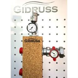 Гидрострелка (Термо-гидравлический разделитель) Gidruss TGR-60-25х2 с вертикальным коллектором (60 кВт, G 1'', 2 вых. контура G 1'')