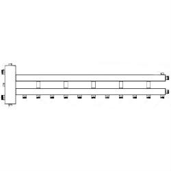 Коллектор отопления с гидрострелкой Gidruss BM-250-6D (250 кВт, 6 контуров, вход G 2'' НР, выход 1'' HP Межосевое расстояние 125 мм)