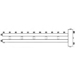Коллектор отопления с гидрострелкой Gidruss BM-250-6U (250 кВт, 6 контуров, вход G 2'' НР, выход 1'' HP Межосевое расстояние 125 мм)