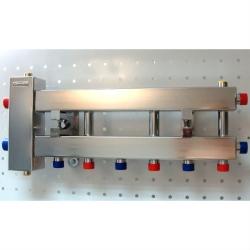 """Коллектор с гидрострелкой """"компакт"""" GidrussBMKSS-60-4D из нержавеющей стали (до 60 кВт, 4 контура: 3 вниз, 1 в сторону 3/4"""" НР, G 1"""" НР Межосевое расстояние 90 мм)"""