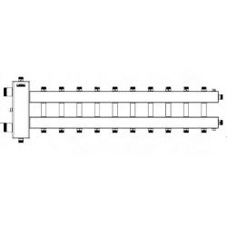 """Коллектор отопления с гидрострелкой Gidruss BMSS-150-11DU (150 кВт, 11 контуров, вход G 1 1/2'' НР, выход 1"""" НР Межосевое расстояние 125 мм)"""