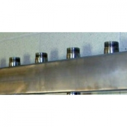 """Распределительный коллектор Gidruss DMSS-25-20x4 из нержавеющей стали (вход G 1"""", Транзитный выход 1"""", 4 выхода 3/4"""")"""