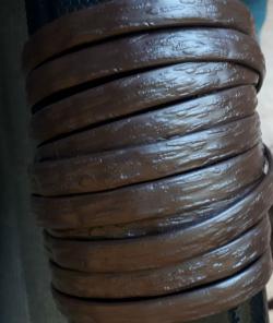"""Искусственный ротанг """"Полоса цвет шоколад 6-12 мм, тиснение кора дерева"""" 2 бухты"""