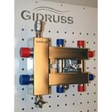 Коллектор отопления с гидрострелкой Gidruss BMSS-60-3DU из нержавеющей стали (60 кВт, 3 контура G 1'' НР, вход G 1 1/4'' НР Межосевое расст 125мм)