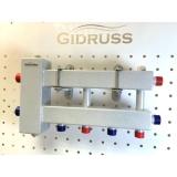 """Коллектор с гидрострелкой Gidruss """"компакт"""" BMK-60-3D (60 кВт, 3 контура 3/4"""" НР, G 1'', Межосевое расстояние 90 мм)"""